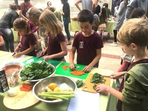 Photo of students prepping food